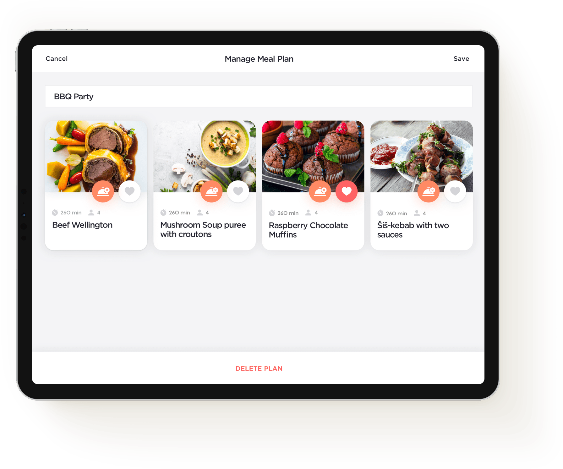 Yummy recipes manage meal plans